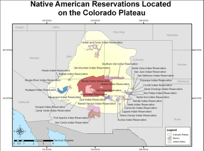 Map of Native American Reservations located on the Colorado Plateau