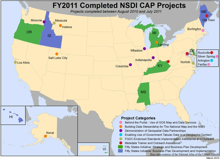 Locations of NSDI CAP Projects finished in fiscal year 2011