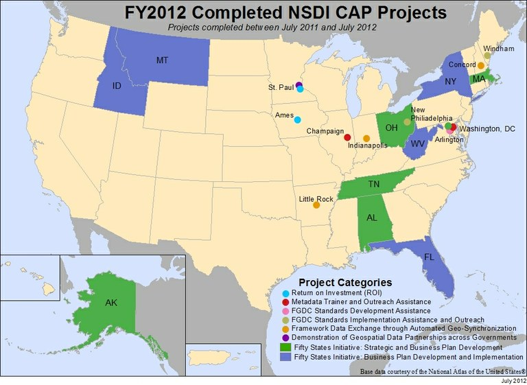 Locations of NSDI CAP Projects finished in fiscal year 2012