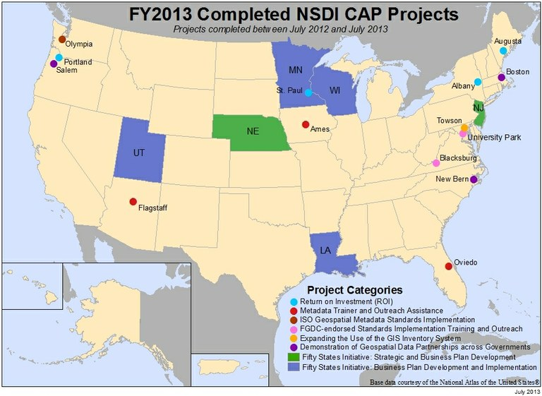 Locations of NSDI CAP Projects finished in fiscal year 2013