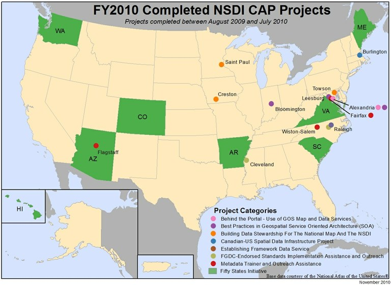 Locations of NSDI CAP Projects finished in fiscal year 2010