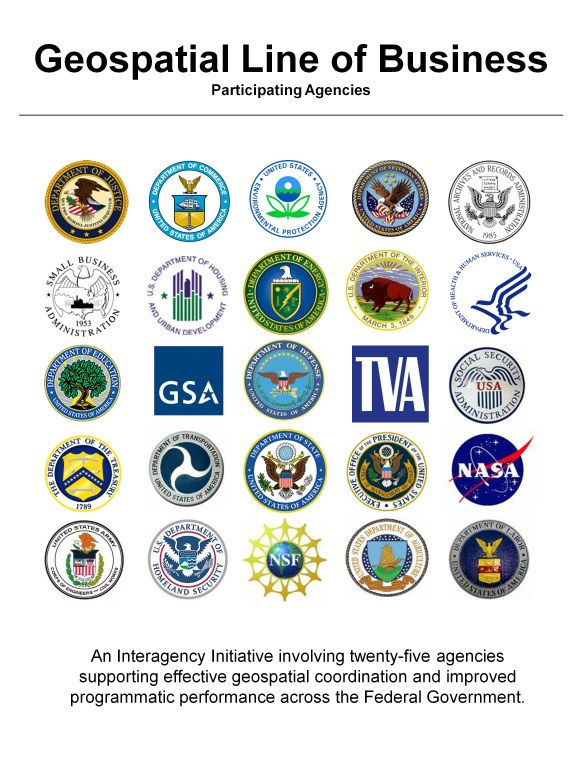Graphic showing logos of Agencies participating in the Geospatial Line of Business Initiative