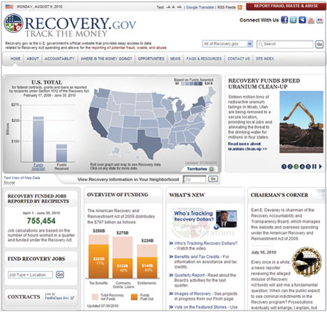 Recovery.gov home page.