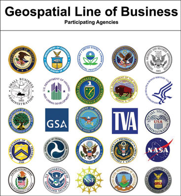 Geospatial Line of Business Participating Agencies logos