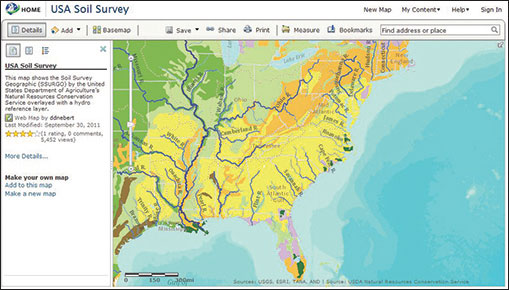The Geospatial Platform Map Viewer displaying USDA's Soil Survey Geographic (SSURGO) data.