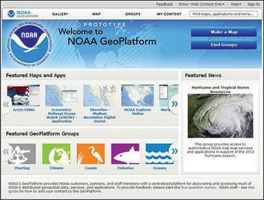 NOAA GeoPlatform home page.