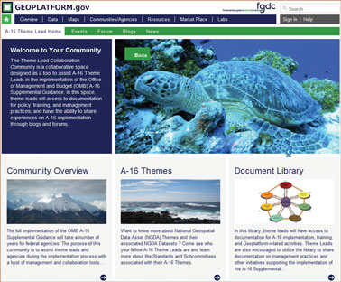 Screen shot of the Geospatial Platform A–16 Biota Data Theme community