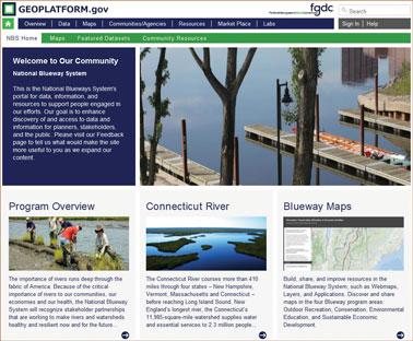 Screen shot of the Geospatial Platform National Blueways System.