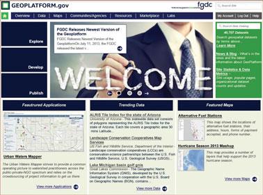 Screenshot of the Geospatial Platform home page.