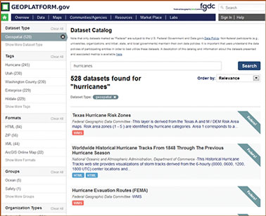 Screenshot of the Geospatial Platform results page.