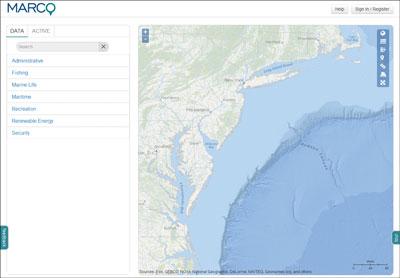 MARCO Marine Planner map.