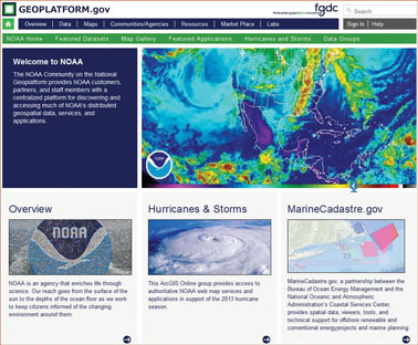 Screen shot of the Geospatial Platform storefront community.