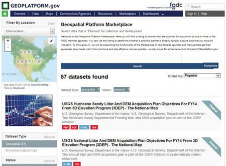 geoplatform.gov Marketplace web page.