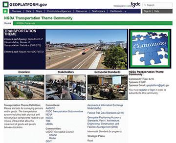 Screenshot of Geoplatform.gov's Transportation Theme Community.
