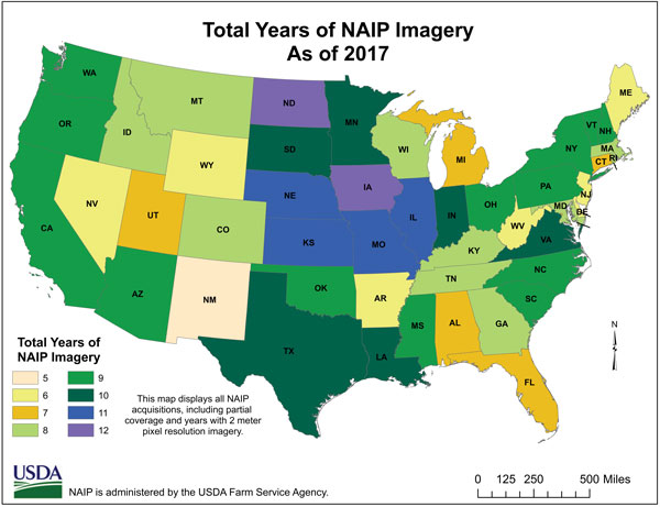 Map of total years of NAIP imagery