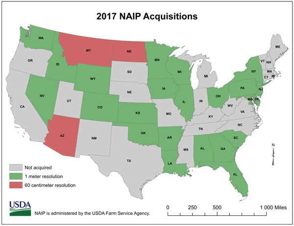Map of NAIP Acquisitions