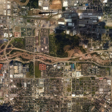 Arial imagery of flooding.