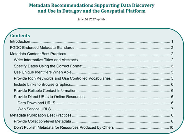 Screenshot of contents for metadata recommendations.