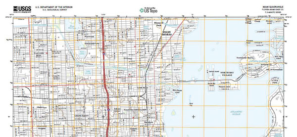 Portion of Miami, Florida topographical map.