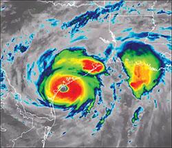 Image showing the eye of Hurricane Harvey.