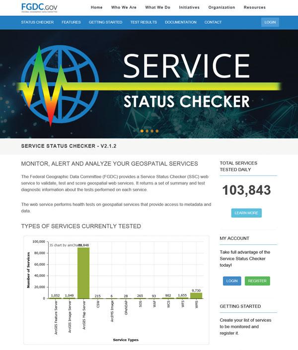 Screenshot of Service Status Checker Web site..