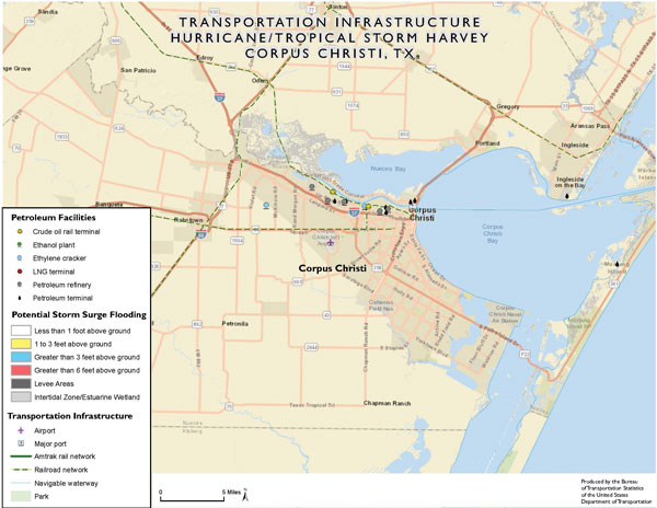 Map of transportation infrastructure in Corpus Christi.